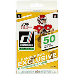 NFL Panini 2019 Donruss Football Trading Card HANGER Box [50 Cards, 1 Memorabilia Card!]