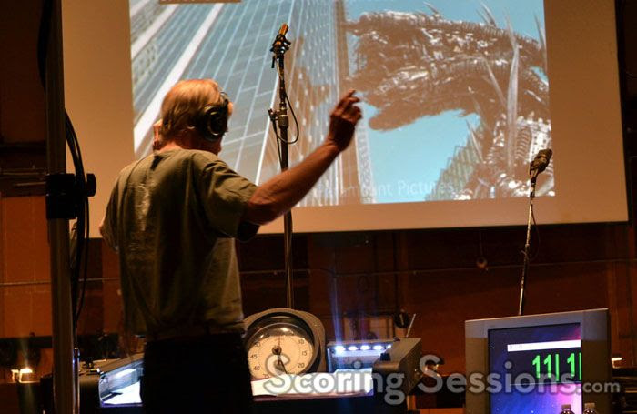 Nick Glennie-Smith conducts TRANSFORMERS: DARK OF THE MOON inside the Sony Scoring Stage in Culver City.