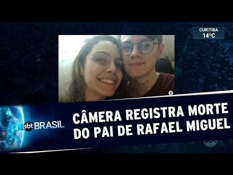 Câmera de segurança flagra momento em que pai do ator Rafael Miguel é assassinado