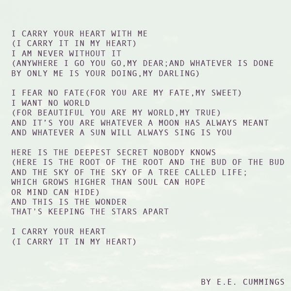 Ee Cummings I Carry Your Heart Elitflat