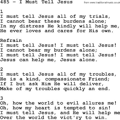 I Must Tell Jesus Lyrics Sda Hymnal