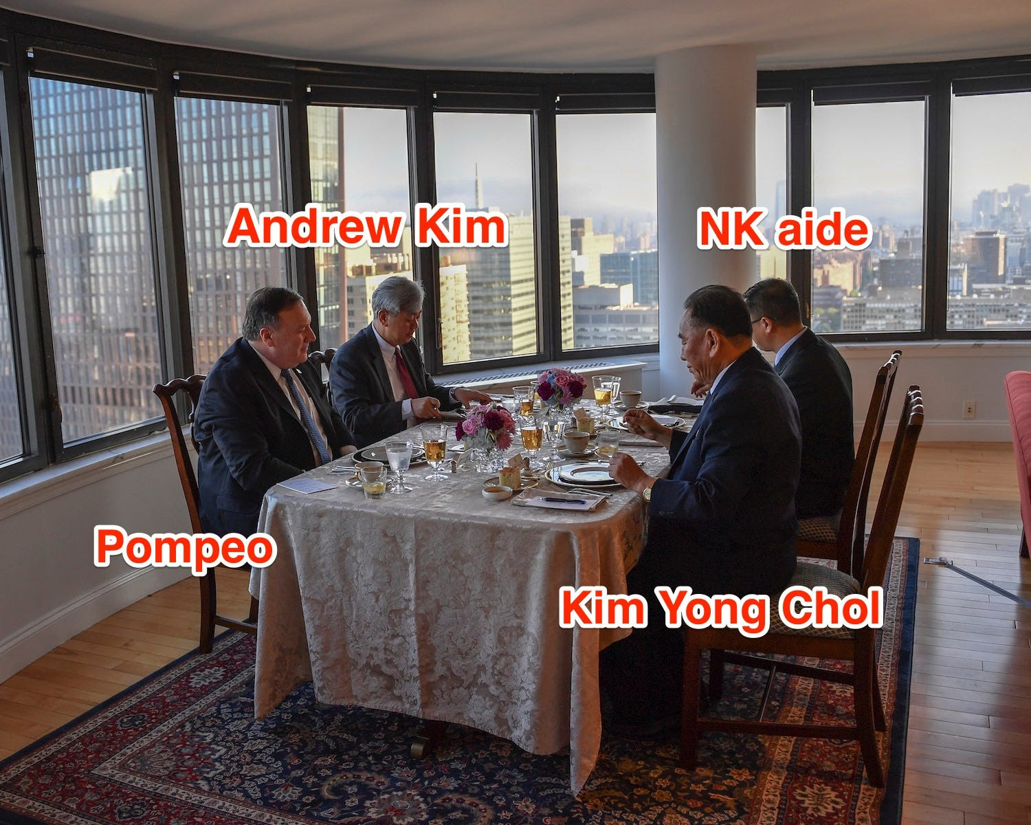 kim yong chol pompeo dinner labelled