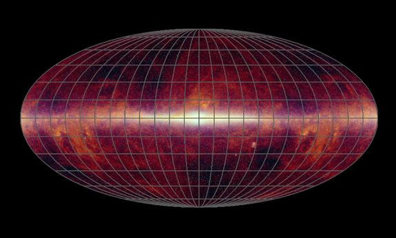 The universe seen in infrared light, captured by NASA's Wide-field Infrared Survey Explorer (WISE).