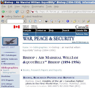 Mangled headline, war hero Billy Bishop webpage with errors by DND National Defence
