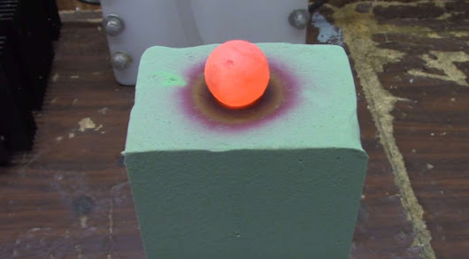 Red Hot Ball on top of Floral Foam | wordlessTech