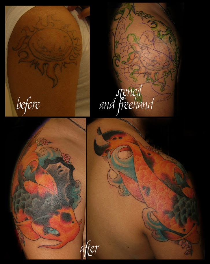Koi Fish Cover Up Tattoo Picture