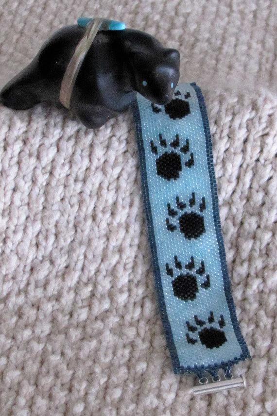 Bear Paw Bracelet  Seed Bead Bracelet by CreationsbyWhiteWolf, $34.00