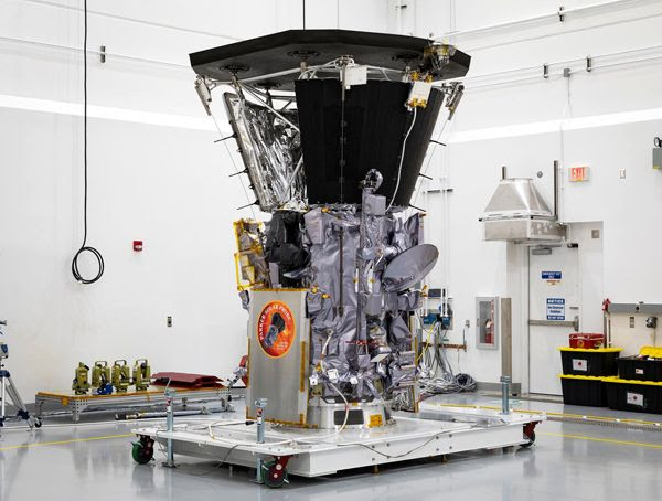 NASA's Parker Solar Probe on display inside the Astrotech Space Operations facility in Titusville, Florida.