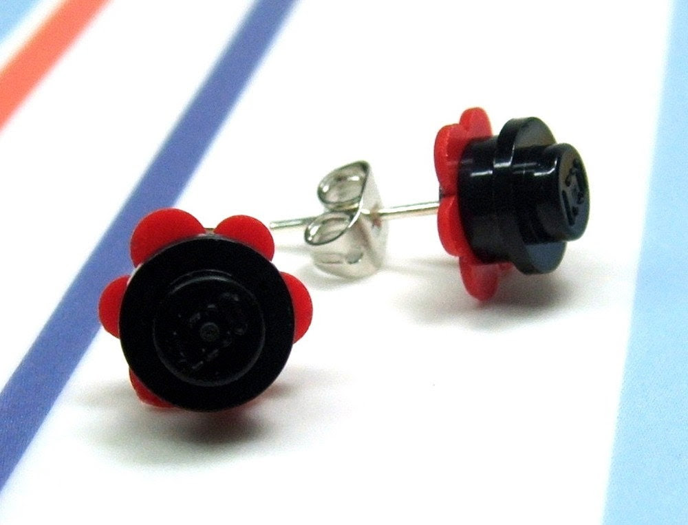 Crazy Daisy Lego Stud Earrings in Red and Black, Silver Tone Posts