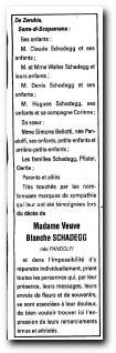 notice remerciements Blanche Schadegg née Pandolfi janvier 2007