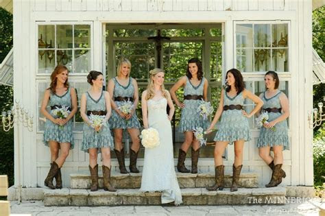 lace wedding country bridesmaids dresses and cowboy boots