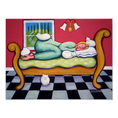 Afternoon Cat Napping - Lovely Art Poster