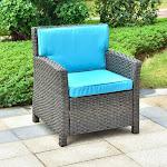 International Caravan Majorca Resin Wicker Patio Chair with Cushion dark cafe