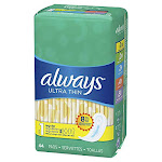 Always Ultra Thin Size 1 Regular Pads Unscented 44 Count