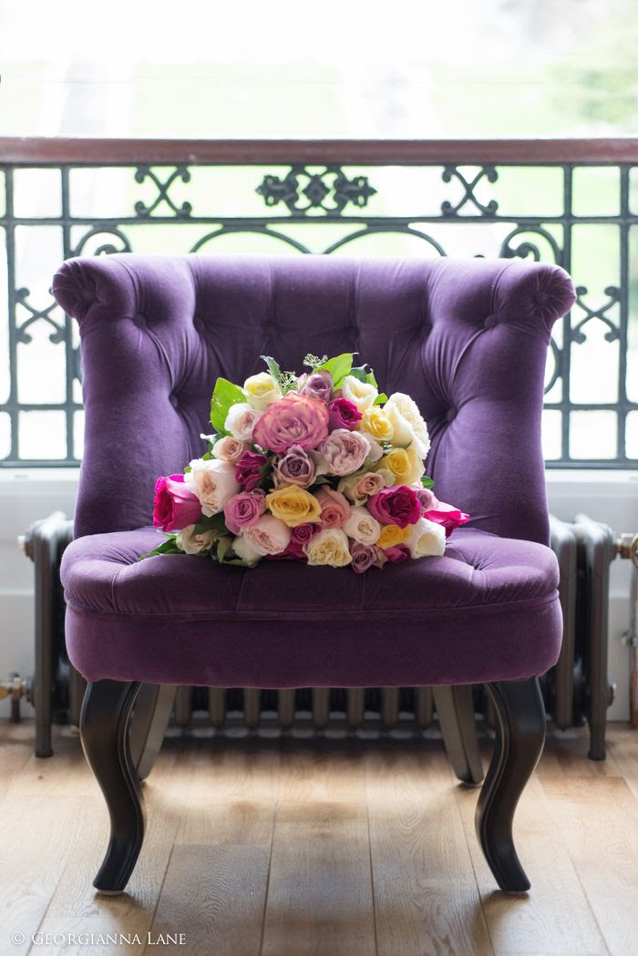 I am dreaming of a purple chair - just like this one. If a balcony like this could be arranged for me - all the better. Bouquet of English Roses in Paris by Georgianna Lane