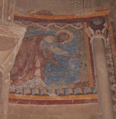 fresque de Canterbury, saint Paul mordu par le serpent sur Malte