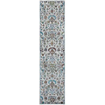 LR Resources GALAC81375IVU2389 Jacobean Runner Rug, Gray & Sky Blue & Sky Blue - 2 ft. 3 in. x 8 ft. 9 in