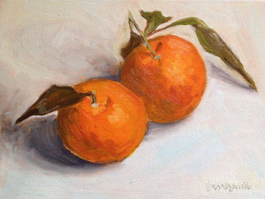 Two Mandarines Still Life Oil Painting on Canvas Board (2016) Oil painting by Caridad I. Barragan