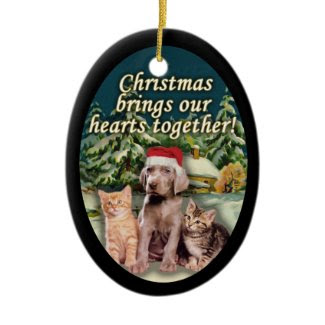 Puppy Kitten Snow Cabin Christmas Ornament