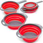Set of 3 Round Rubber Collapsible Kitchen Colander Folding Strainer Set Drainer for Fruit Vegetable Pasta, Red, 3 Sizes