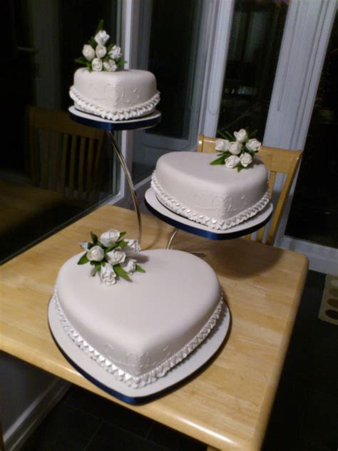 3 Tier Heart Shape Wedding Cake With White Tulip Sugar