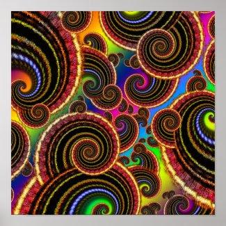 Funky Rainbow Swirl Fractal Art Pattern Posters