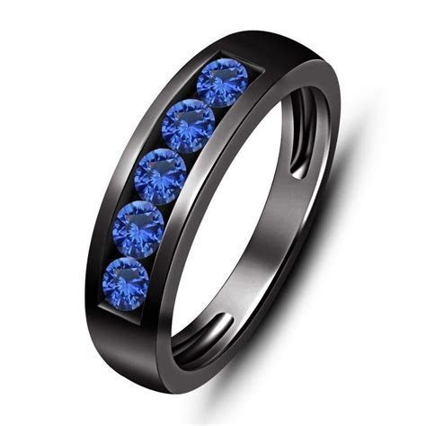 Blue Sapphire 5 Stone 1.00 ct tw Men's Wedding Band Ring