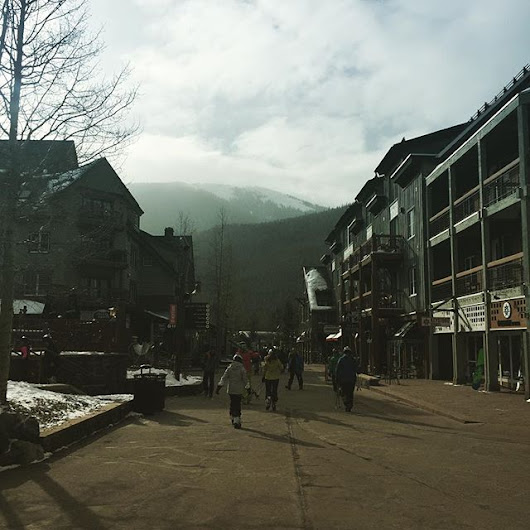 Walking down the Main Street in Keystone, Colorado to get to the Gondo