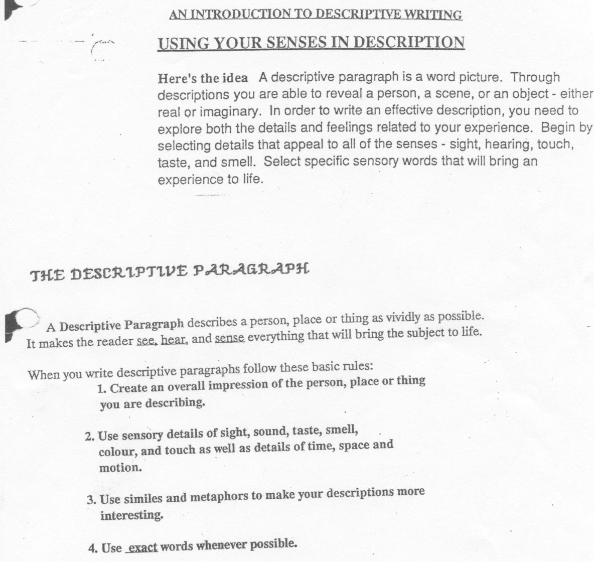 how to write an introductory paragraph for a descriptive essay