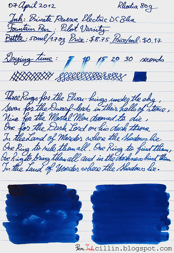 Private Reserve Electric DC Blue on Rhodia