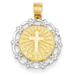 14K Yellow Gold Rhodium Plated Baptism Pendant
