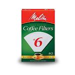 Melitta 626402 Cone Coffee Filters, White, #6, 40-count