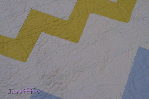 close up zigzagged quilt