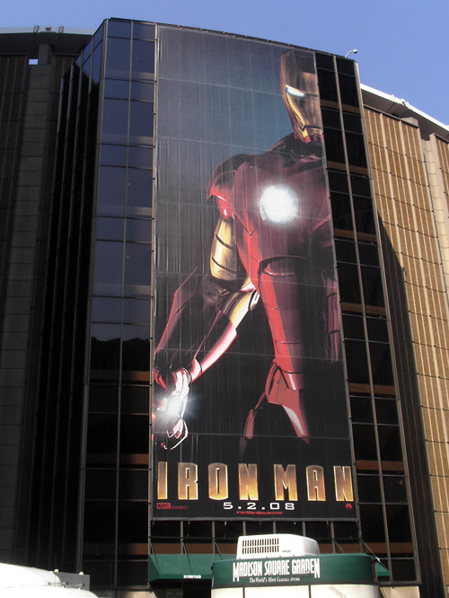 an ad for the movie IRON MAN on Madison Square Garden