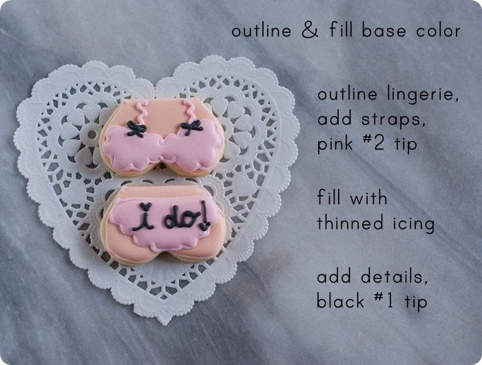 1 of 5 lingerie decorated cookies for a honeymoon or lingerie-themed bridal shower...or bachelorette party ♥