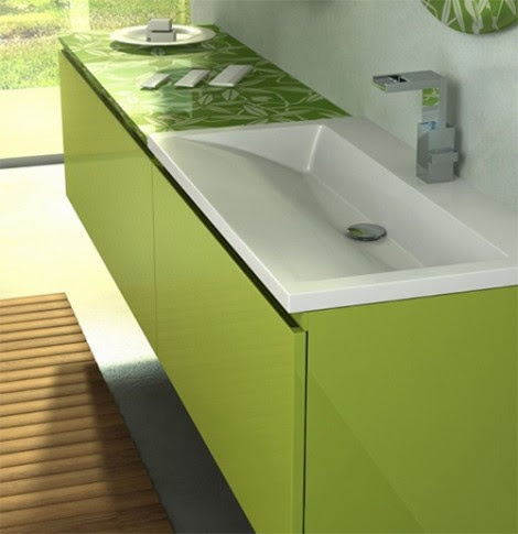 green bathroom vanity unit