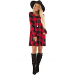 Beeson River by Bellamie Women's Plaid A-Line Sweater Dress Red w/ Pockets (Small)