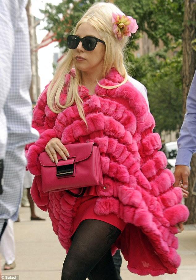 Backlash: PETA have slammed Gaga after she wore this pink fur coat out in New York recently