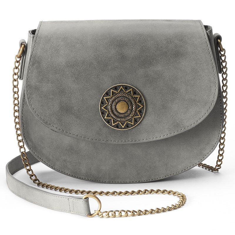 T-Shirt & Jeans Saddle Medallion Crossbody Bag, Women's, Grey