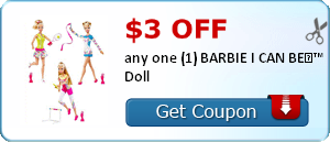$3.00 off any one (1) BARBIE I CAN BE?™ Doll