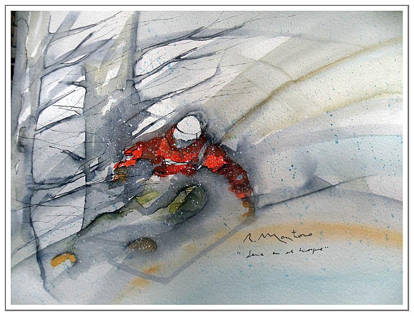esquiador en el bosque