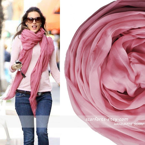 "Rubber Pink Scarf Silk Scarf  Woman Accessories Fashion Shawl Silk- 79""x26"""
