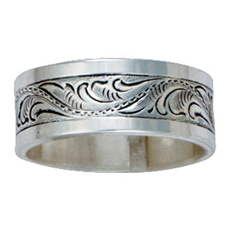 Size 10   Pure Montana Men's Sterling Silver Engraved Band