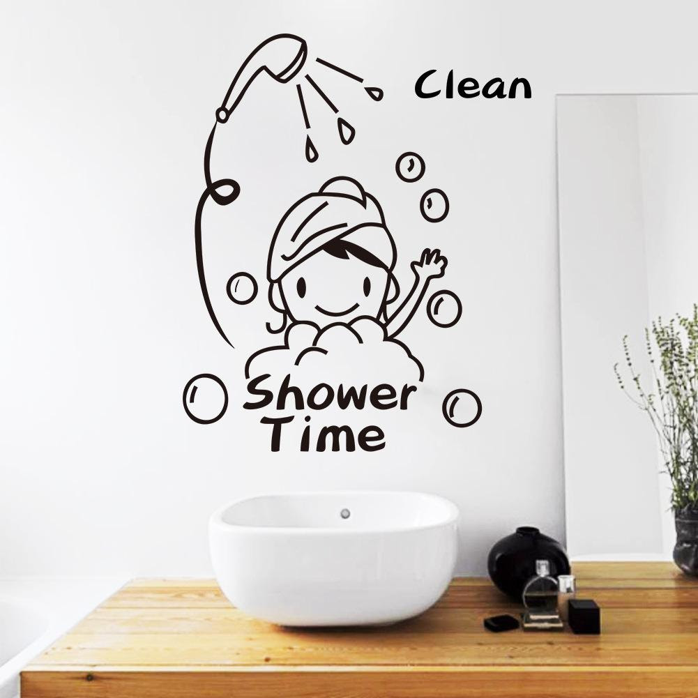 Shower Time Bathroom Wall Decor Stickers Lovely Child Removable