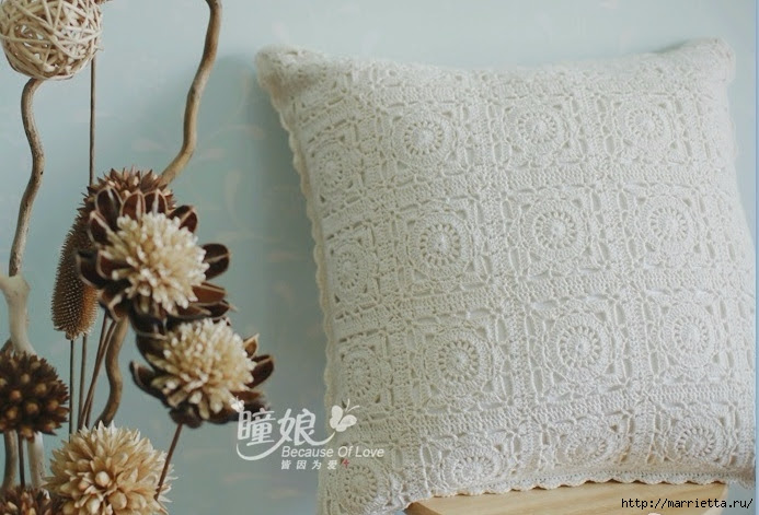 White cushion crochet square motifs.  The scheme (3) (693x471, 219Kb)