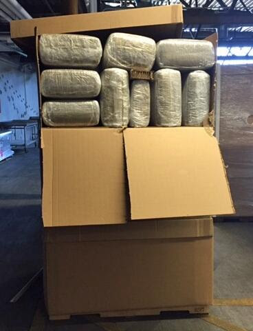 A narcotics detection canine alerted officers to a shipment identified as aircraft parts, which was determined to be more than 17,000 pounds