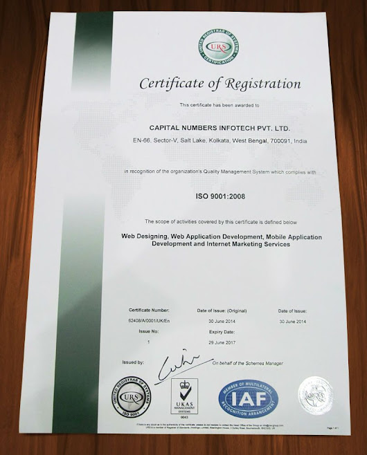Capital Numbers Infotech Pvt. Ltd. Certified with ISO 9001:2008 Accreditation | PRLog