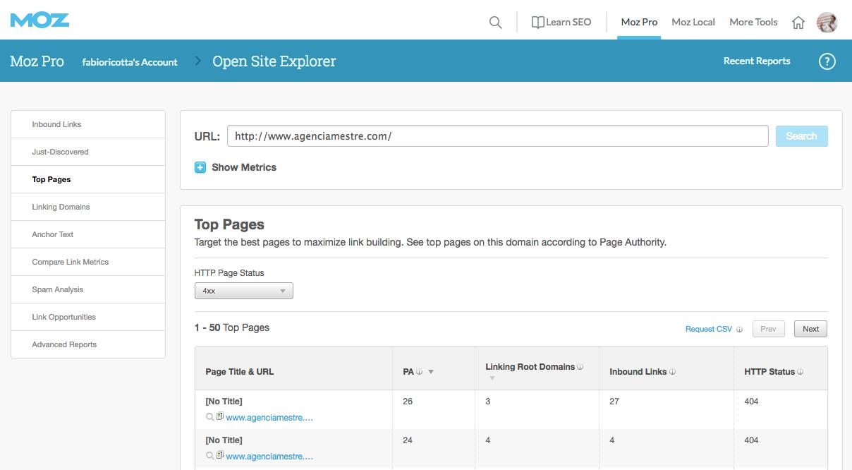 Moz Site Explorer - Análise de Backlinks para 404