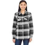 Burnside Ladies' Plaid Boyfriend Flannel Shirt-BLACK-XL