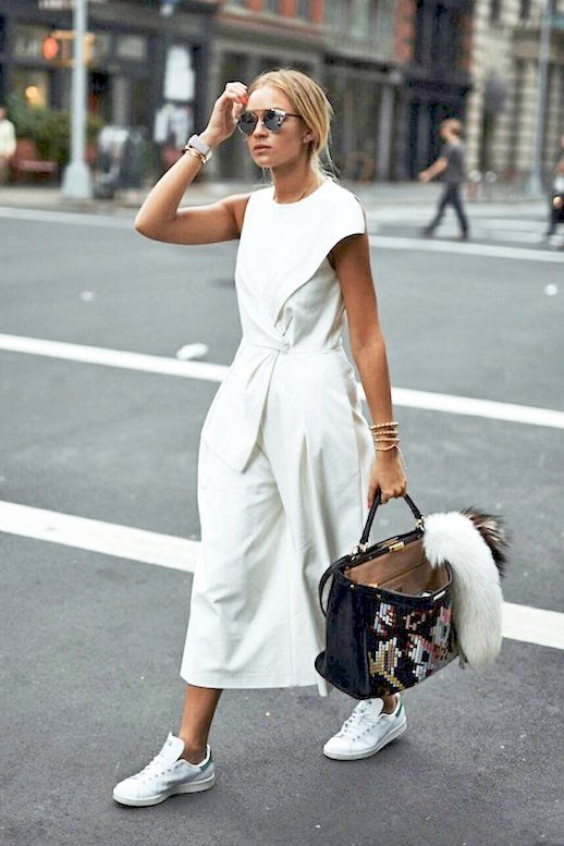 Le Fashion Blog Blogger Style Nyfw Tibi White Tie Front Culotte Jumpsuit Dior Mirrored Sunglasses Stan Smith Adidas Shoes Embroidered Fendi Oversized Tote Bag Via Nina Suess